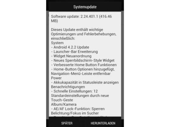 Das Android 4.2-Update für das HTC One ist über 400 Megabyte groß.