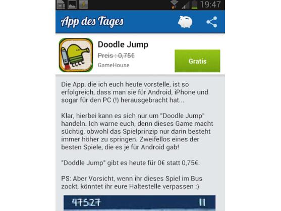 """Die Anwendung """"App des Tages"""" gibt es ab sofort auch für Android."""