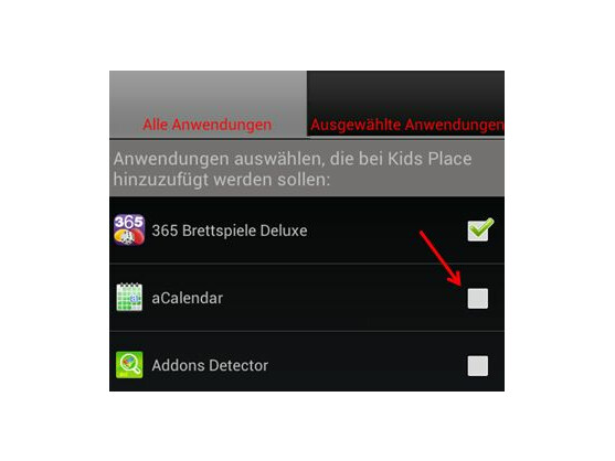 Apps zu Kids Place hinzufügen