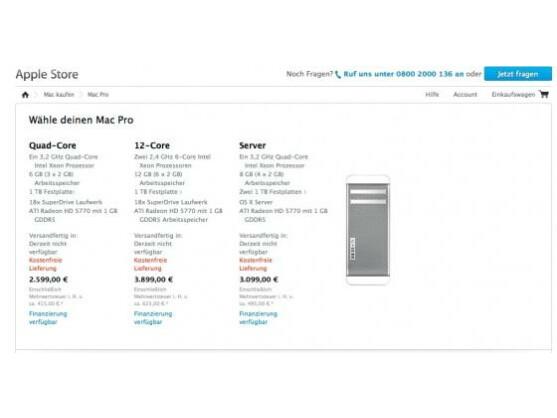 Ausverkauft? Im deutschen Apple Store lässt sich der Desktop-PC nicht länger bestellen