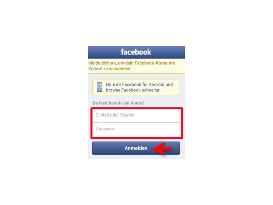 Mit Facebook-Account anmelden.