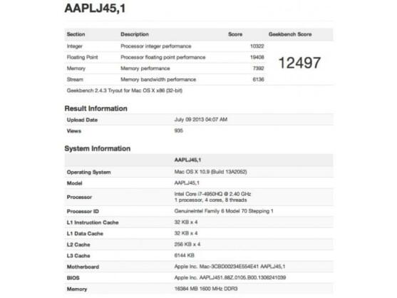 Das bislang unveröffentlichte MacBook Pro taucht in der Ergebnis-Datenbank des Benchmark-Tools Geekbench 2 auf.