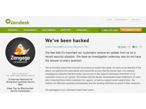 In einem Blogeintrag weist Zendesk auf die Attacke hin.