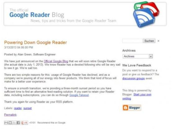 Google Reader wird dichtgemacht: In einem Blogpost hat der Suchmaschinenanbieter die Nachricht verkündet.