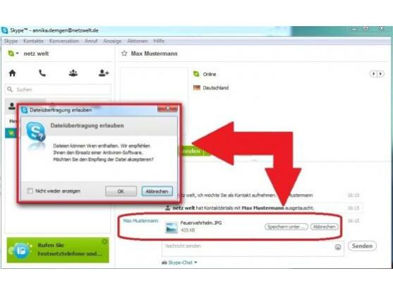 Entscheidungsdialog auf der Gegenseite: Datei annehmen oder verwerfen