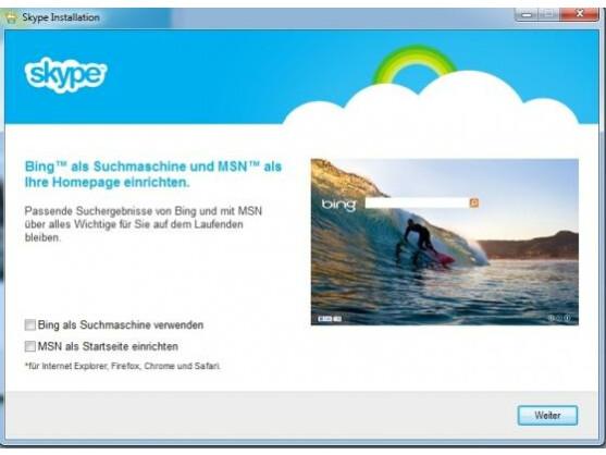 Bei der Installation will Skype auch die Bing Bar mit auf den PC aufspielen.