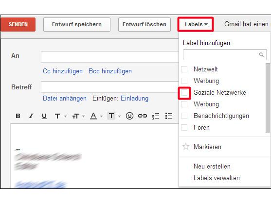 Labels beim Verfassen von E-Mails vergeben.