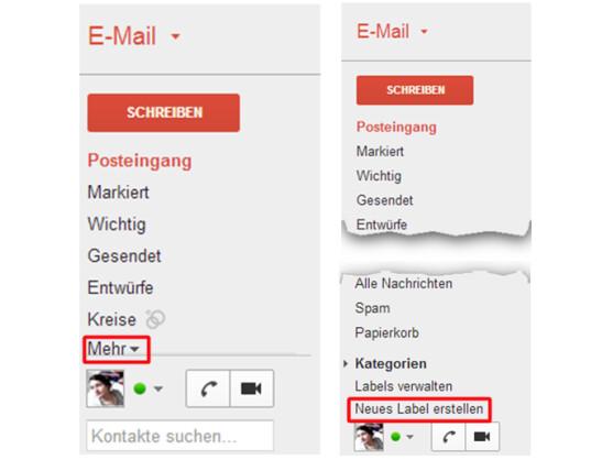 Labelverwaltung in der GMail-Weboberfläche aufrufen.