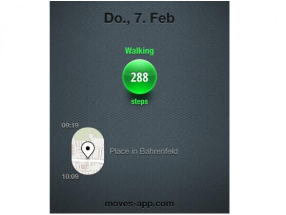 Moves zählt Schritte und analysiert Aktivitäten.