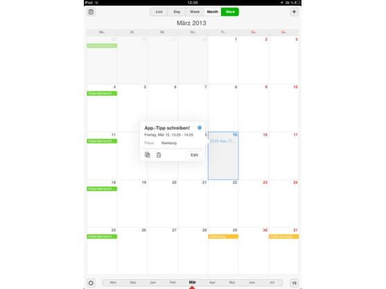 Die Oberfläche des Readdle Calendars gestaltet sich übersichtlich und ist leicht verständlich