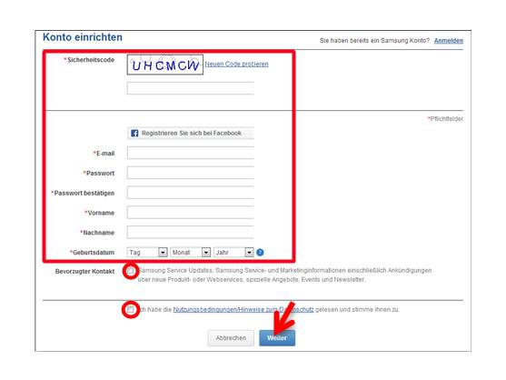 Registrierung für ein Samsung-Konto.