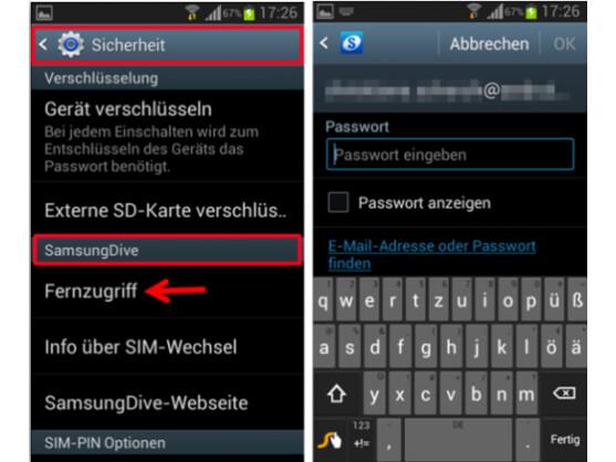 SamsungDive mit Samsung-Konto verbinden.