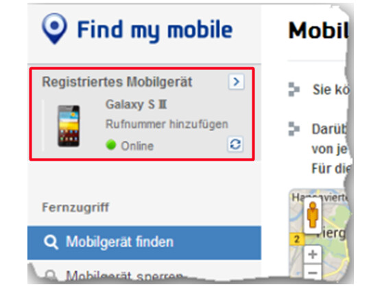 SamsungDive Webportal zeigt verbundenes Gerät an.