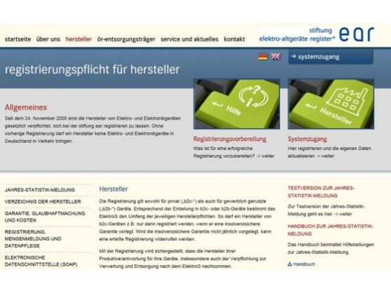 Auf dieser Seite lassen sich die Hersteller von Elektronikgeräten in Deutschland registrieren. Die Stiftung EAR soll unter anderem die Abholung des Elektronikschrotts bei den Sammelstellen organisieren.