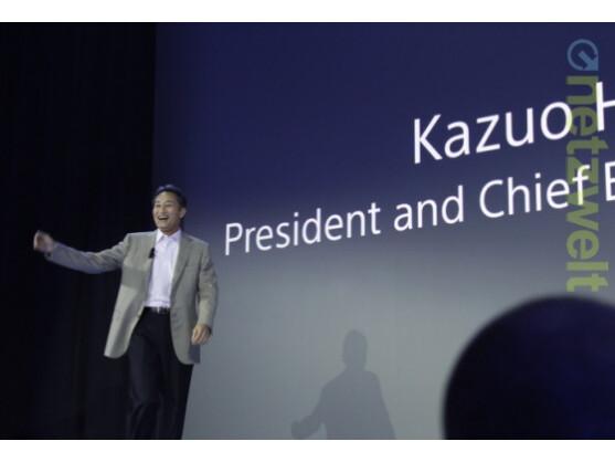 Sony-Chef Kazuo Hirai führt durch die Pressekonferenz.