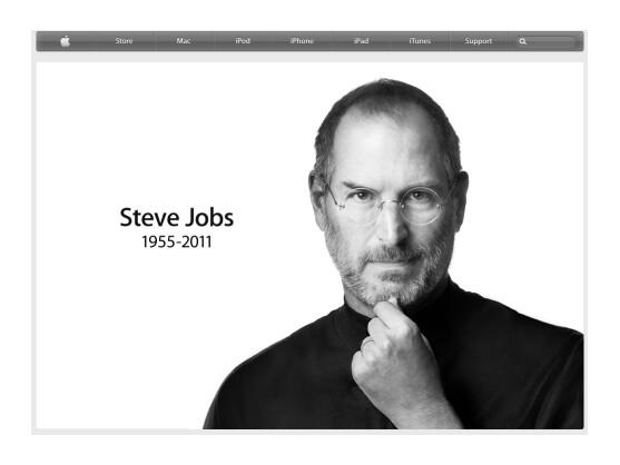 Nach dem Tod von Steve Jobs war auf Apple-Seiten lange Zeit sein Konterfei zu sehen.