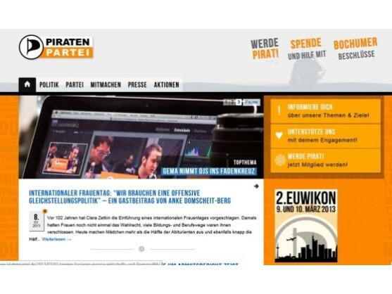 Trotz der Krise in der Piratenpartei: Die Webseite zeigt, dass die Piraten immer noch jede Menge interessante Themen auf Lager haben.
