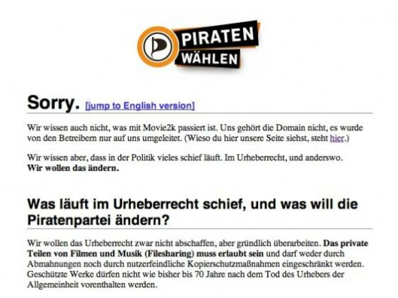 Umleitung: movie2k.to-Anfragen werden auf die Seite der Piratenpartei weitergeführt.