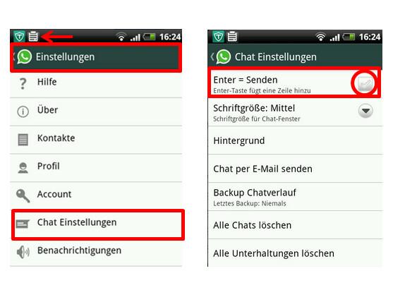 """""""Enter = Senden"""" in den Chat-Einstellungen."""