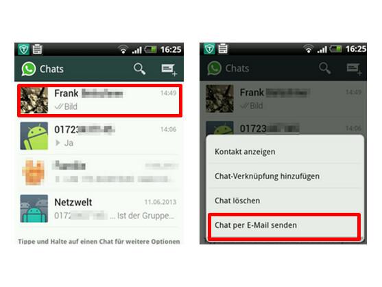 Chatverlauf per Mail versenden.