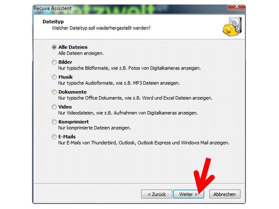 Dateiformat für die Wiederherstellung einschränken.