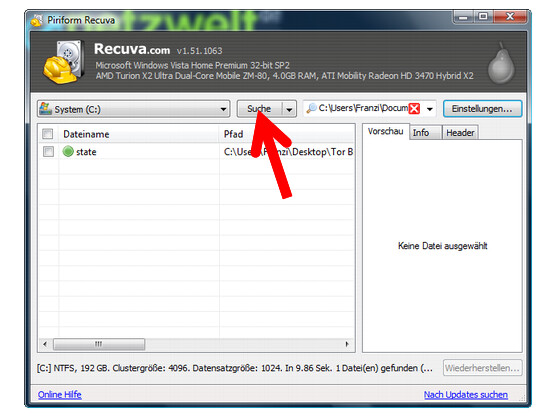 Erneut nach gelöschten Dateien auf der Festplatte suchen.