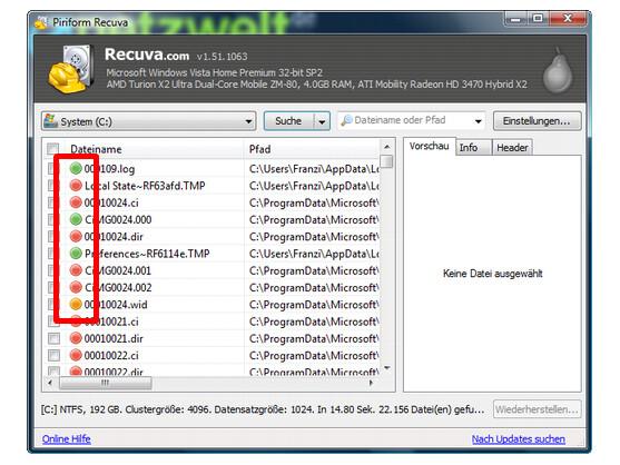 Die farbigen Markierungen zeigen den Zustand der Dateien und die Wahrscheinlichkeit einer Wiederherstellung.