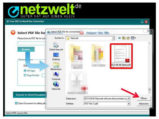 PDF-Dokument für die Konvertierung auswählen.