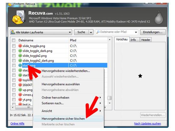 Mit Recuva löscht ihr optional einzelne Dateien datenschutzgerecht.