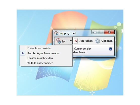 Das Snipping Tool bietet verschiedene Option für Screenshots.