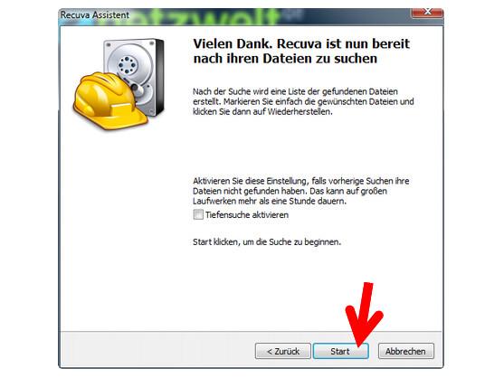Suche nach wiederherstellbaren Dateien starten.
