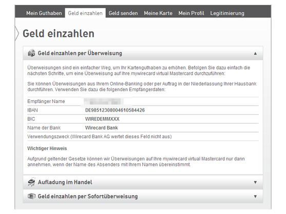 virtuelle kreditkarte per lastschrift aufladen