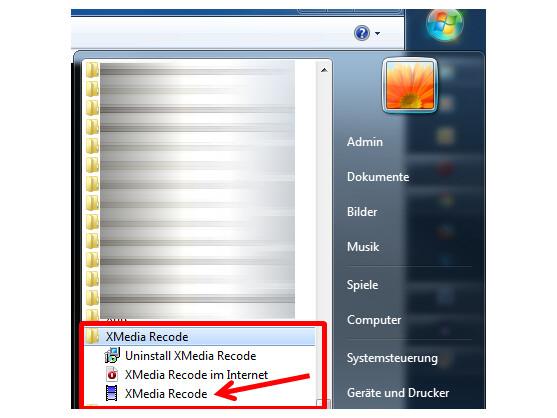XMedia Recode über das Windows-Startmenü öffnen.
