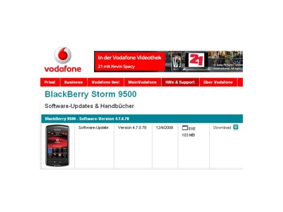 Das Software-Update für das Blackberry Storm kann über den Vodafone-Support heruntergeladen werden.