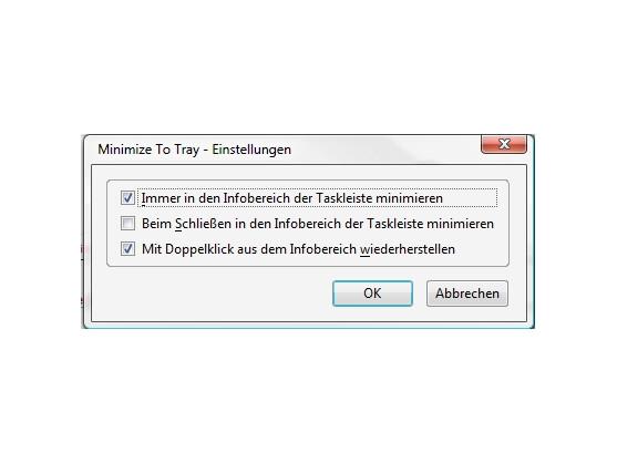 In den Einstellungen wird MinimizeToTray aktiviert.