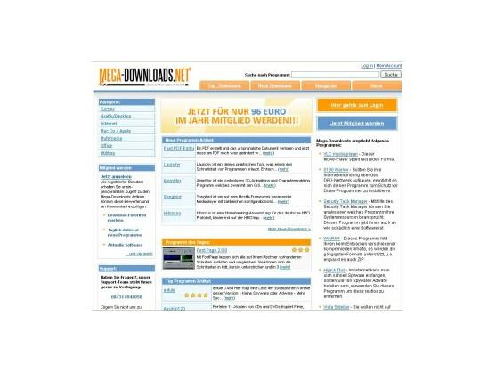 Auf der Startseite von mega-download.net wird prominent auf die Kosten für den Download von Software, die eigentlich kostenlos ist, hingewiesen.