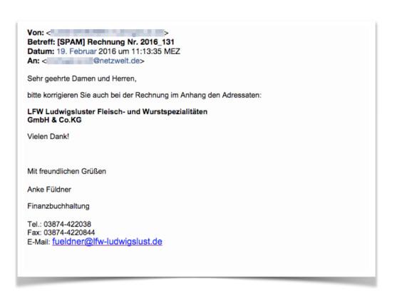 So oder ähnlich sieht die E-Mail mit der Rechnung aus.