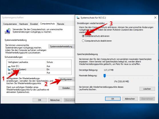 """Um den Computerschutz zu aktivieren, wählt ihr in den Systemeigenschaften unter """"Computerschutz"""" zuerst das Laufwerk aus (1), klickt danach auf """"Konfigurieren…"""" (2) und setzt im neuen Fenster den Punkt vor """"Computerschutz aktivieren"""" (3)."""