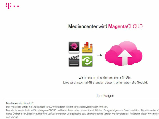 telekom mediencenter cloud speicher kehrt als magentacloud zur ck netzwelt. Black Bedroom Furniture Sets. Home Design Ideas
