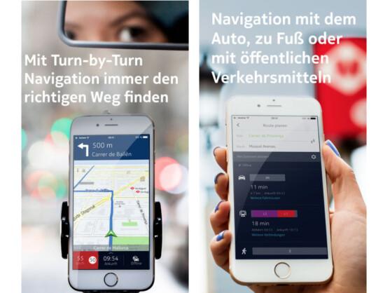 HERE Maps navigiert euch offline per Auto, ÖPNV oder zu Fuß zu eurem Ziel.