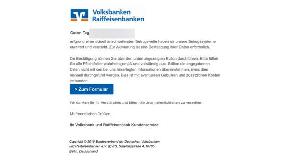 Volksbank: Neue Phishing-Mails im Umlauf