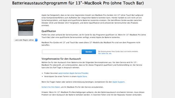 apple macbook pro 13 austauschprogramm f r aufbl hende. Black Bedroom Furniture Sets. Home Design Ideas