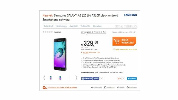 Galaxy A3 2016 Cyberport Verrät Release Termin Des Galaxy S6 Mini