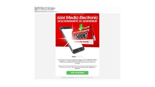 spam im namen von media markt es gibt keinen 500 euro gutschein zu gewinnen netzwelt. Black Bedroom Furniture Sets. Home Design Ideas