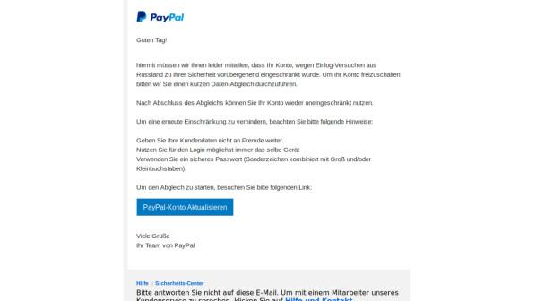 Paypal SicherheitsГјberprГјfung Email