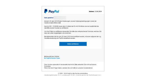 PayPal: Verbraucherzentrale warnt weiterhin vor Phishing-Mails