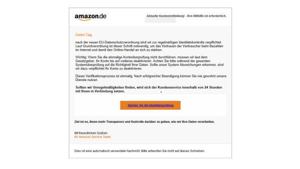 Amazon: Verbraucherzentrale warnt vor aktuellen Phishing-Mails