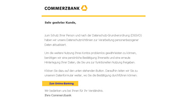 Commerzbank-Phishing: Aktuelle Spam-Mails im Umlauf