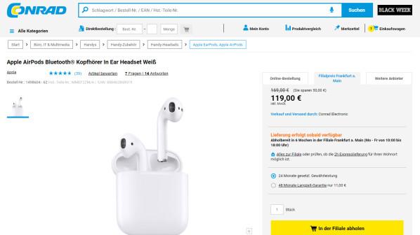 apple airpods ab 119 euro g nstige gelegenheit netzwelt. Black Bedroom Furniture Sets. Home Design Ideas
