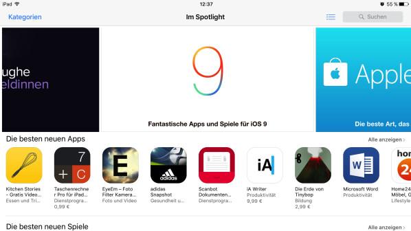 App Store Unter IOS 9